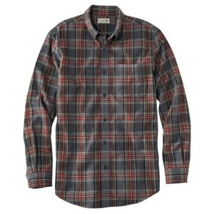 L. L. Bean Scotch Plaid Flannel Shirt Grey Stewart